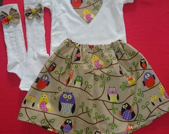 girls sets, Christmas party, birthday party,Christmas Set, baby girls set,owls set
