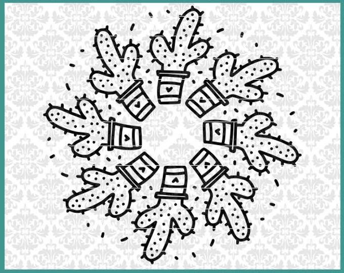 CLN0580 Cacti Cactus Mandala Monogram Potted Succulent  SVG DXF Ai Eps PNG Vector Instant Download Commercial Cut File Cricut Silhouette
