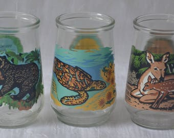 eb2629 Welch's Endangered Species Glasses You get ALL 3 - Spectacled Bear, Key Deer, Hawksbill Sea Turtle 1980s