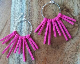 Isla - Bright Pink Fringe Earrings