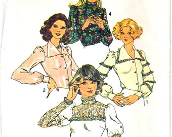 Simplicity 6679 Woman Long Sleeve Retro Blouse Leg-Of-Mutton or Cuff Sleeve, High Neck or V-Neck Blouse Sewing Pattern Size 10 Vintage 1970s