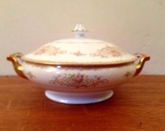 """NORITAKE China 8"""" Covered Serving Dish w/ Handles JAPAN Pink Rose Gold Trim Vintage"""