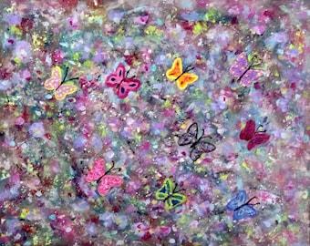 Butterflies abstract acrylic artwork, butterflies on canvas, ready-to-hang art, butterfly art, colorful butterflies