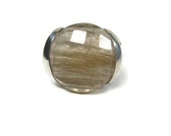 Vintage 90s Rutile Rutilated Quartz Ring Sterling Size 9.5