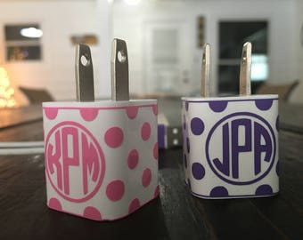 Monogrammed Polka Dot Charger Adapter Vinyl Decal Wrap
