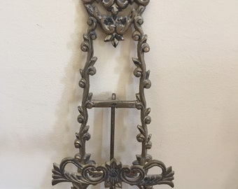 Tabletop Brass Easel for Art, Photographs, Plates, Vintage Display