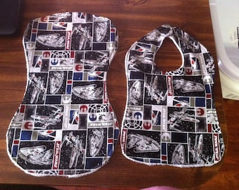 Star Wars Bib and Burp Cloth Set Cotton Fabric with Terry Cloth Backing