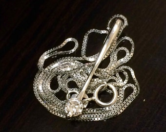 14K White Gold Diamond Drop Necklace - 14K Gold Diamond Necklace - 14K Diamond Pendant - 14K Diamond Drop Pendant - White Gold Necklace