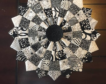 Black and white table topper made in a dresden design.