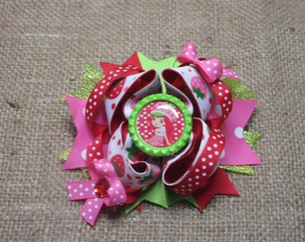 Strawberry Shortcake Twisted Bow, Boutique Bow, Strawberry Bow, Hair Accessory, Birthday Gift