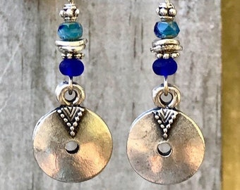 Blue Earrings, Bohemian Earrings, Silver Earrings, Rustic Earrings, Boho Jewelry, Gift for Her