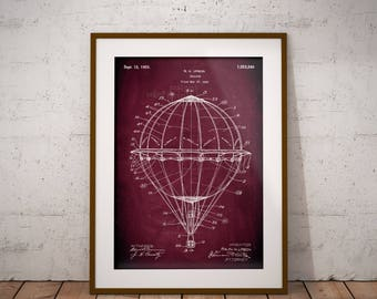 Hot Air Balloon 1925 Patent Poster, Balloon Patent Print, Airship Patent Art, Gift for Balloon Pilot, Gift for Balloon Enthusiast, IAP0263