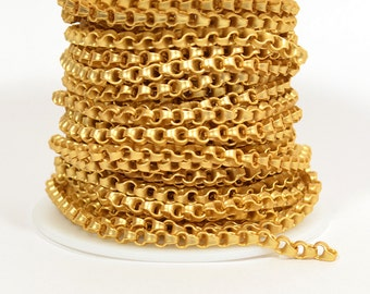 18K Gold Plated Box Rolo Chain - Matte Gold - CH105-18K - Choose Your Length