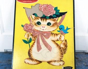 Vintage Whitman Fuzzy Wuzzy Puzzle Cat Blue Bird