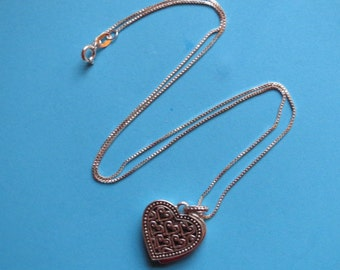 Vintage Authentic Lori Bonn Sterling Silver Scroll Heart Love Locket Necklace