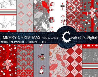 Merry Christmas in Red and Grey - Digital Paper Collection 12x12
