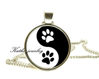 Yin Yang Paw Print Zen Pendant, Animal Dog Cat Jewelry, Yin Yang Jewelry