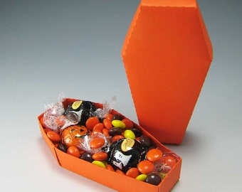 Halloween Coffin - Paper Gift Box Die Cutting with SVG files and PDF instructions for Silhouette and Cricut machines