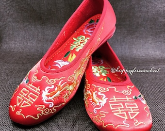 Comfy Red bridal Embroidered Shoes, Traditional Chinese Wedding, Wedding Flats, Red wedding shoes