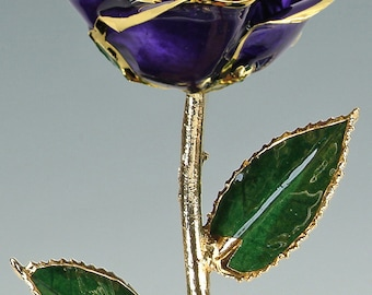 Real Rose Plated in 24k Gold - Gift for Her - Purple