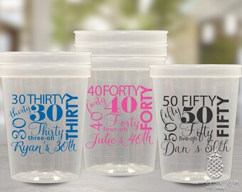 Birthday Party Cups | Hello 30, 40, 50 Cups