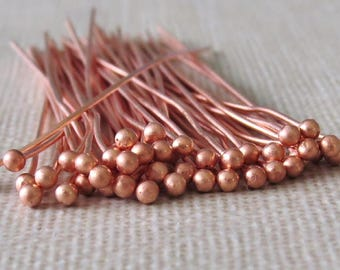 22g Solid Copper 2 Inch Ball Headpin : 25 pc Copper Headpin