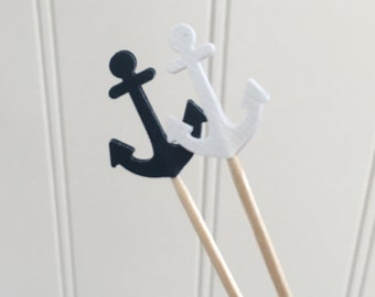 Anchor Cupcake Toppers Nautical Theme Food Picks Custom Colors