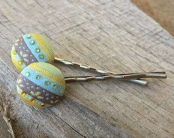 Striped Fabric covered bobby pins set Hairpins