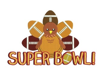 Super Bowl Turkey Filled Machine Embroidery Digitized Design Pattern  - Instant Download - 4x4 , 5x7, and 6x10
