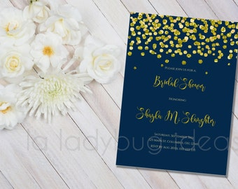 Printable Bridal Shower Invitation, Navy and golden confetti, Invitacion Despedida de Soltera. Digital Invitation. Printable wedding Invite.