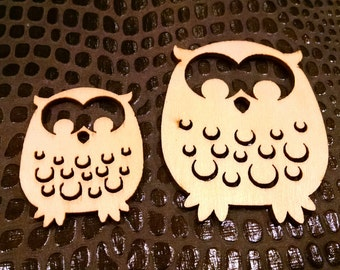 Unfinished Wood Cuts Owl Pair / Craft Supply / Mixed Media Supplies / embellishment / altered art supply / bird