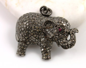 Pave Diamond Pendant, Pave Elephant Pendant, Diamond Elephant Charm, Pave Elephant Necklace, Pave Connector, Oxidized Silver. (DCH/CR129)