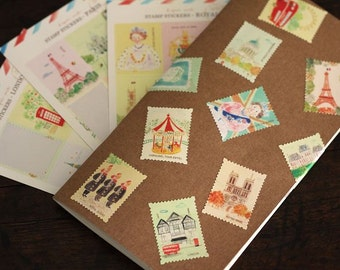 Stamp Sticker Set  - Masking Stickers - Deco Stickers - Diary Stickers - 3 styles in