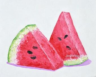 watermelon painting, fruit art, kitchen painting, tropical fruit, still life, Jan Matson