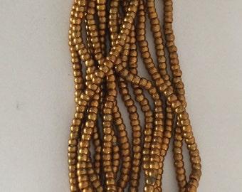 RARE - Antique Metal Round Micro Beads 8 - DARK GOLD