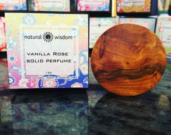 Vanilla Rose Solid Perfume by Natural Wisdom. Vegan. Alcohol and Gluten free. 100% natural.