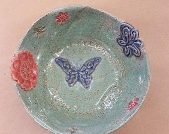 Ceramic bowl, handmade serving dish, art bowl, candy dish, nut bowl, dip bowl, hostess gift, unique gift, LW112