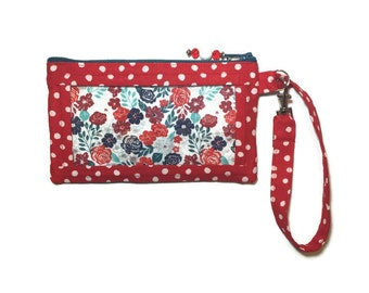 Womens Phone Wallet, Cell Phone Bag, iPhone 5 Wristlet, iPhone Floral Wallet, Smart Phone Purse, Coin Pocket, Red Polka Dots, Text and Tote®