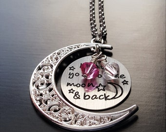 I Love You To The Moon And Back Necklace-Personalize with Swarovski Crystal Birthstones-Gift Idea