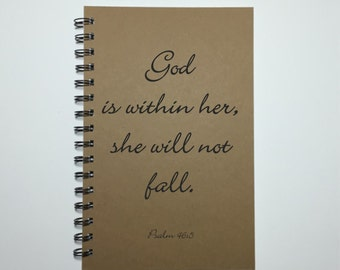 Journal, God is Within Her, She Will Not Fall, Psalm 46:5, Notebook, Writing Journal, Christian Journal, Inspirational Gift, Graduation Gift