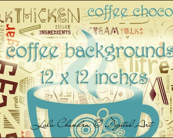 coffee backgrounds 12 x 12 inches  INSTANT DOWNLOAD  scrapbook printable hot chocolate decoupage paper