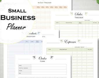 Printable small business planner, order form, sales, expense tracker, inventory, supplies track, letter size and A4 PDF.
