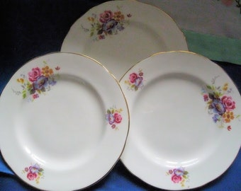 Set of 3 vintage fine bone English china side plates with bold handpainted floral design - perfect condition!