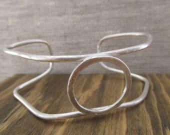 Hexagonal Sterling Silver Bangle Bracelet, Gift for Girlfriend, Gift for Wife, Gift for Her