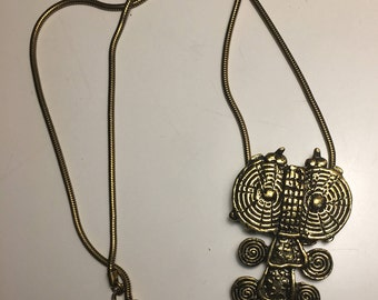 ALVA MUSEUM Replica Gold Tone Owl Scroll  NECKLACE with Chain