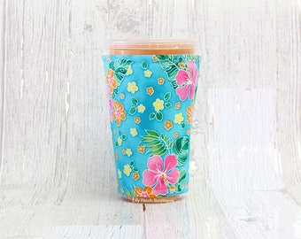 Turquoise Tropical Floral Cup Cozy, Iced Coffee Cozy, Cup Sleeve, Coffee Cuff, Insulated Cup Sleeve,