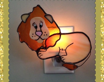 Nursery Room Lion Night Light, Stained Glass Leopold The Lion Night Light or Sun Catcher Custom Made