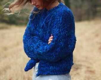 Blue hand knit cardigan, royal blue cardigan, chunky knit jacket, cropped cardigan, women's handknit sweater, loose knit bulky jacket