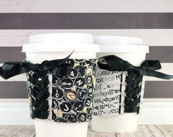 Typewriter Cup Cozy // Typed Letter Cup Cozy // reversible // adjustable // reusable // sleeve // to go cup cozy // beverage cozy // teacher