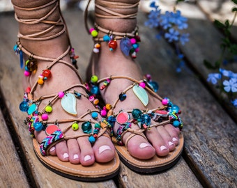 SALE 40%!!! Multicoloured  Tie up Gladiator sandals